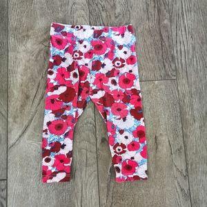 3/$12 Joe fresh poppy floral leggings 6-12 m
